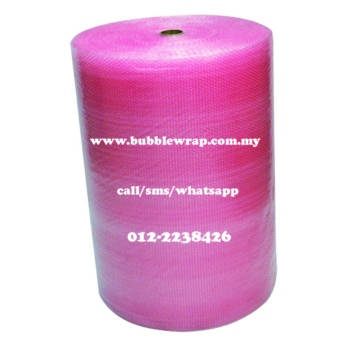 Antistatic Bubble Wrap Pink 1m x 100m Plastic Packaging