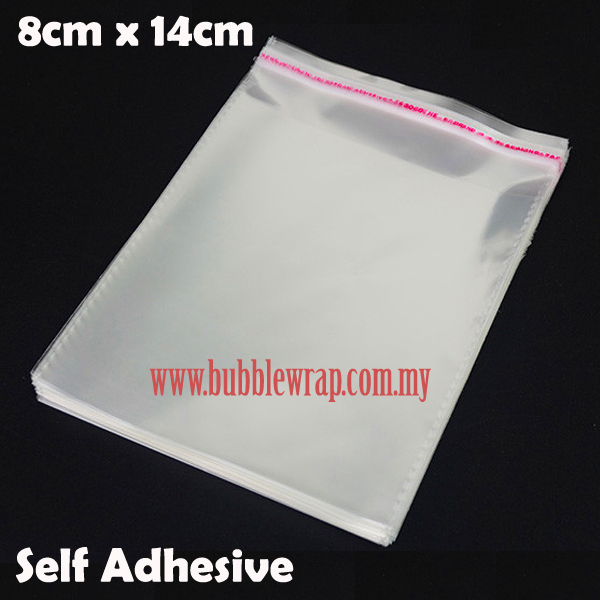 100pcs OPP Bag 8x14cm Self Adhesive Transparent Plastic Bag