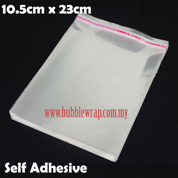 100pcs OPP Bag 10.5x23cm Self Adhesive Transparent Plastic Bag