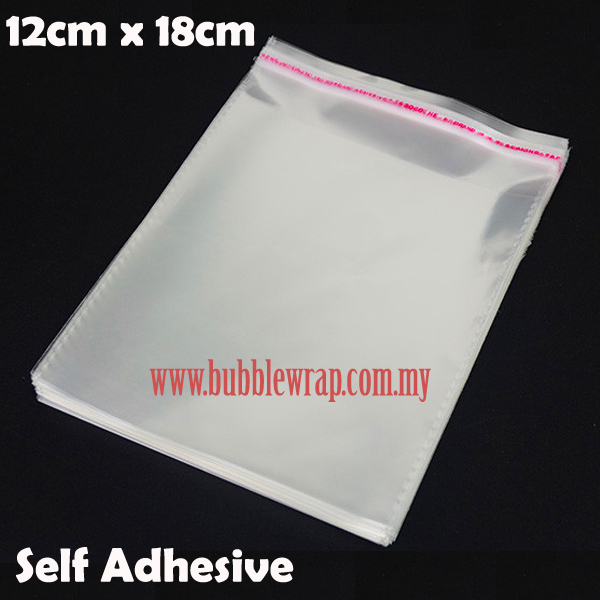 100pcs OPP Bag 12x18cm Self Adhesive Transparent Plastic Bag
